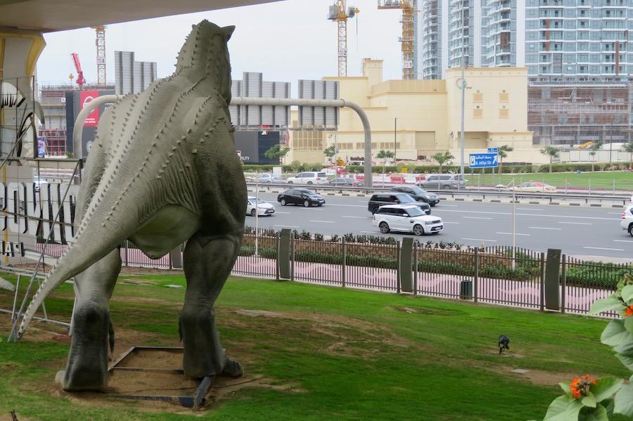 Dinosaur watches traffic