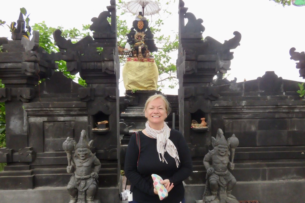 Sue at a temple